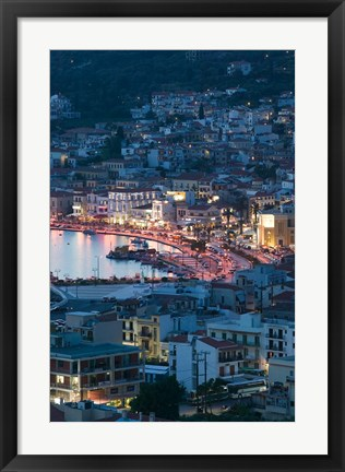 Framed Town View with Vathy Bay, Vathy, Samos, Aegean Islands, Greece Print