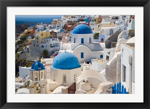 Framed Blue Domed Churches, Oia, Santorini, Greece Print