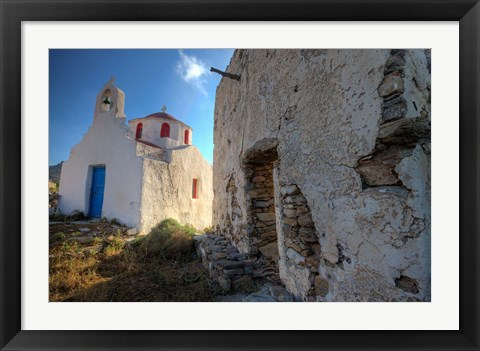 Framed Old building and Chapel in central island location, Mykonos, Greece Print