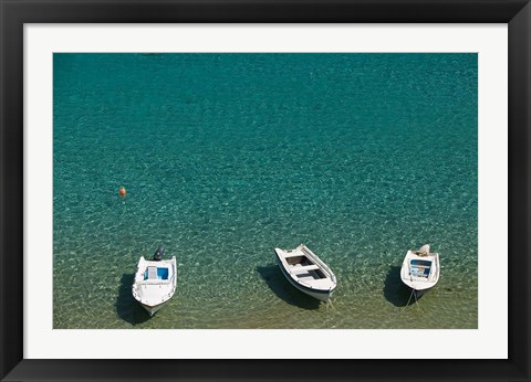 Framed Greece, Dodecanese, Rhodes, Lindos Harbor, Boats Print
