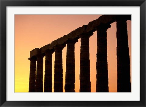 Framed Temple of Poseidon Columns at Sunset, Cape Sounion, Attica, Greece Print