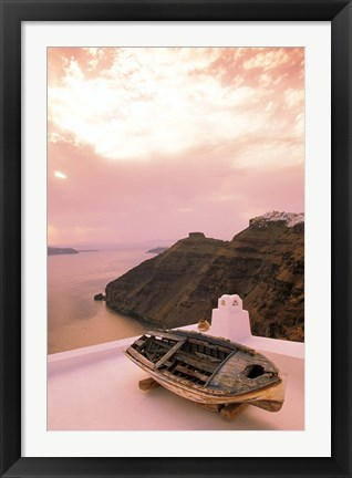 Framed Imerovigli Viewed from Thira, Santorini, Cyclades Island, Greece Print