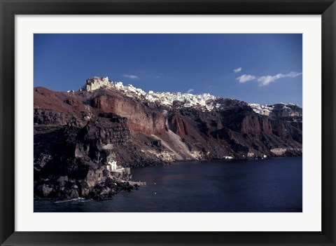 Framed Village of Ia From Ferry, Santorini, Greece Print