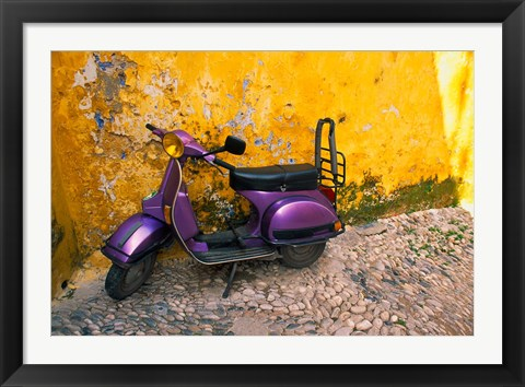 Framed Vespa and Yellow Wall in Old Town, Rhodes, Greece Print