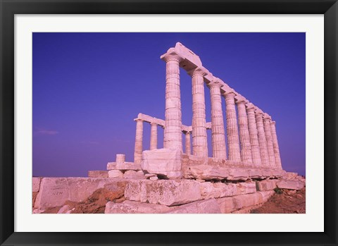 Framed Ruins on Cliff in Cape Sounion, Poseidon, Greece Print