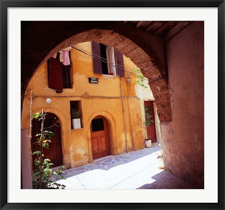 Framed Venetian Houses, Old Town, Chania, Western Crete, Greece Print
