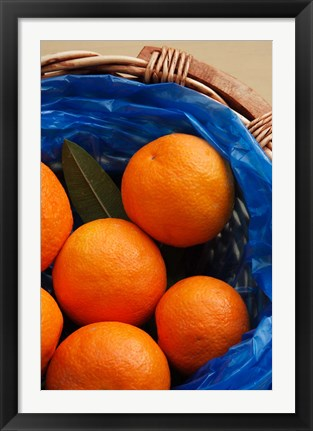 Framed Basket of Oranges, Greece Print