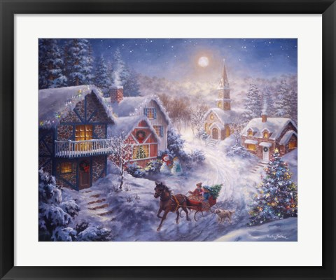 Framed In A One Horse Open Sleigh Print