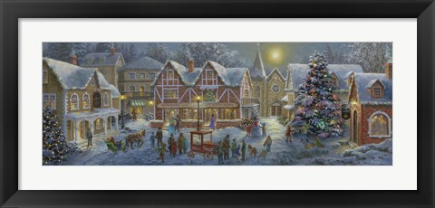 Framed Christmas Village Panoramic Print