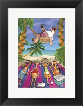 Framed Hammock On The Beach Print
