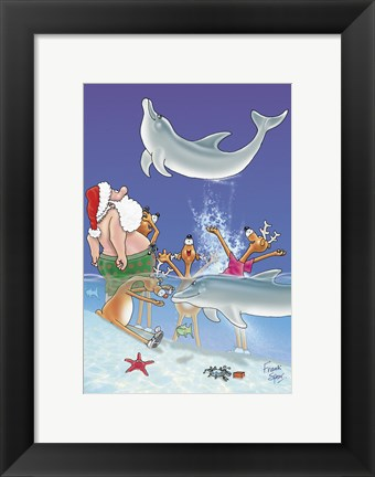 Framed Santa and the Dolphins Print