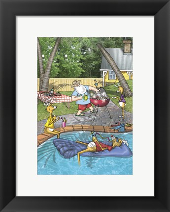 Framed Pool Barbecue Print