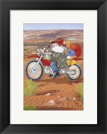 Framed Santa On Farm Bike Print