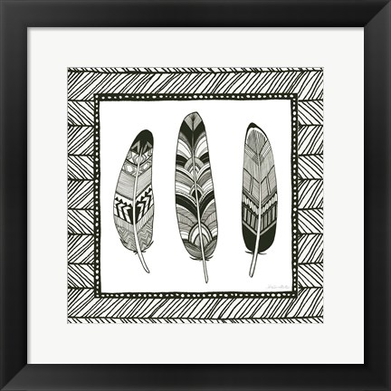 Framed Geo Feathers Square II Print