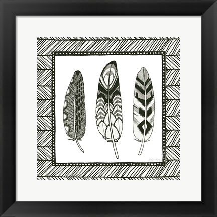 Framed Geo Feathers Square III Print