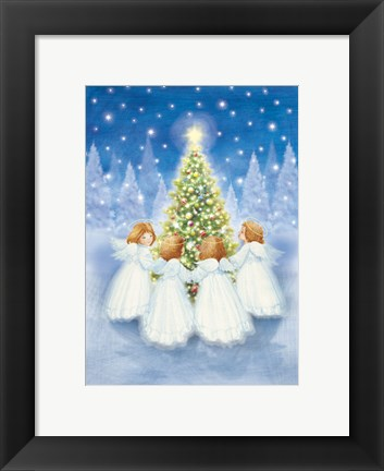 Framed Christmas Tree and Gathering Angels Print