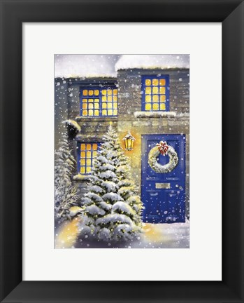 Framed Blue Door and White Christmas Print