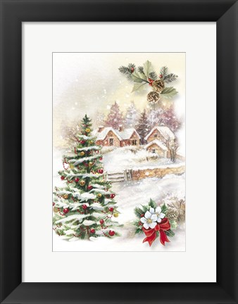 Framed Christmas Tree and Snow Village Print