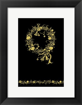 Framed Black and Gold Holiday Wreath Print