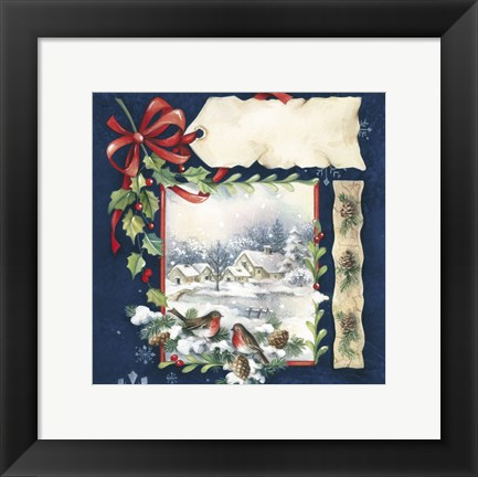 Framed Winter Village and Bird Holiday Print