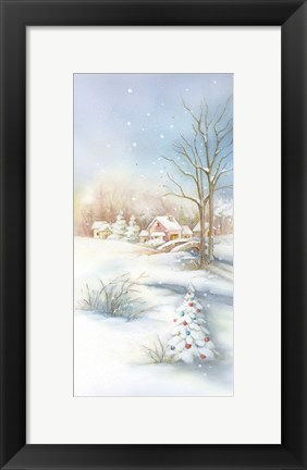 Framed Christmas Snow In The Village Print