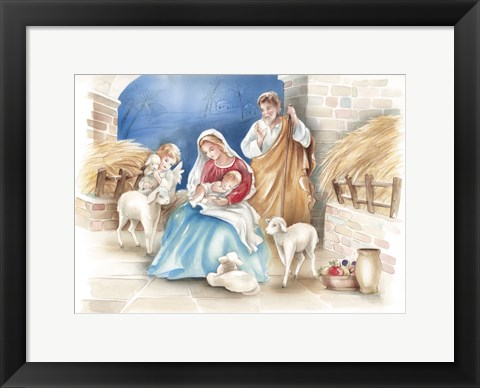 Framed Mary and The Lambs Manger Scene Print