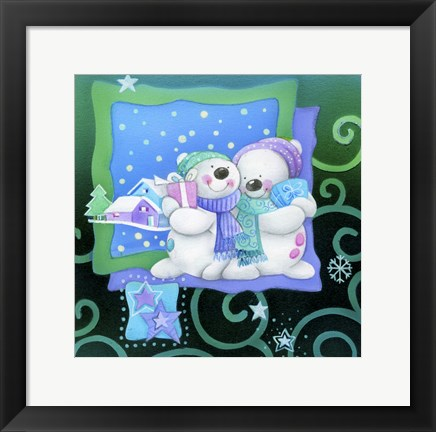Framed Snowman Couple Holiday Snuggle Print