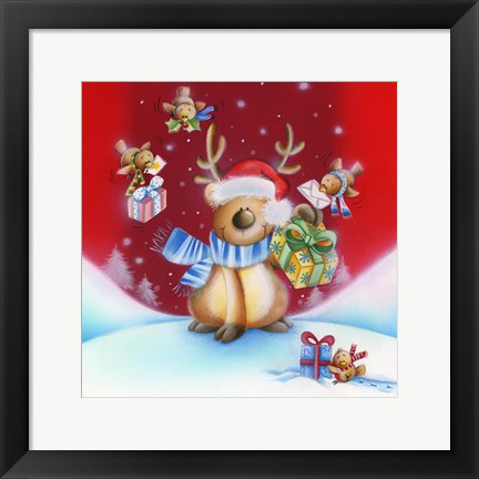 Framed Birds Bearing Deer Christmas Gifts Print