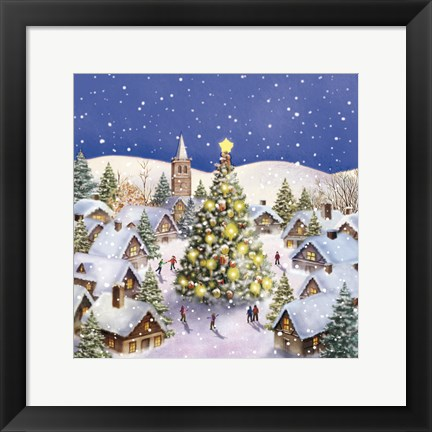 Framed Village Christmas Tree Meet Print