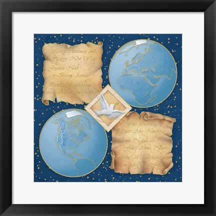 Framed Merry Christmas Happy New Year World Dove Print