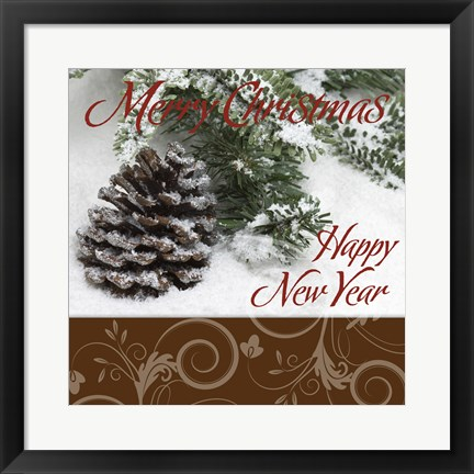 Framed Merry Christmas Happy New Year Acorn Snow Print