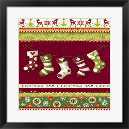 Framed Christmas Eve Stocking Holiday Knit Print