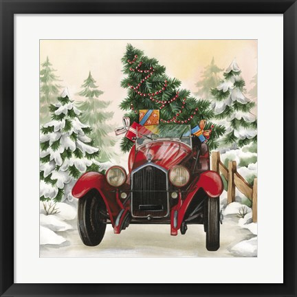Framed Christmas Tree Classic Car Ride I Print