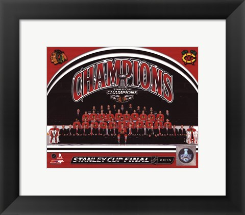 Framed Chicago Blackhawks 2015 Stanley Cup Champions Team Sit Down Photo Print