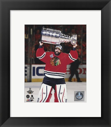 Framed Corey Crawford with the Stanley Cup Game 6 of the 2015 Stanley Cup Finals Print