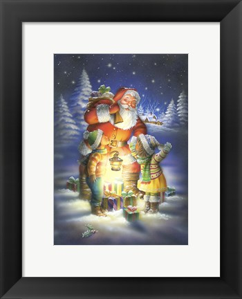 Framed Bringing Santa The Light Print