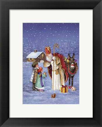 Framed Saint Nicholas And The Children Print