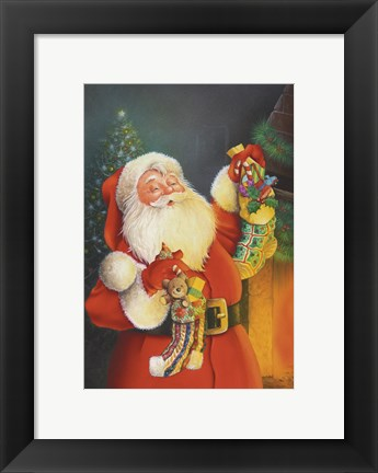 Framed Santa Hanging The Stockings Print