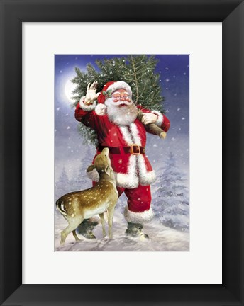Framed Santa Has The Tree Print