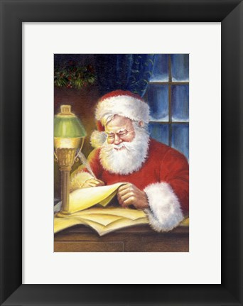 Framed Santa's Feathered Pen Print