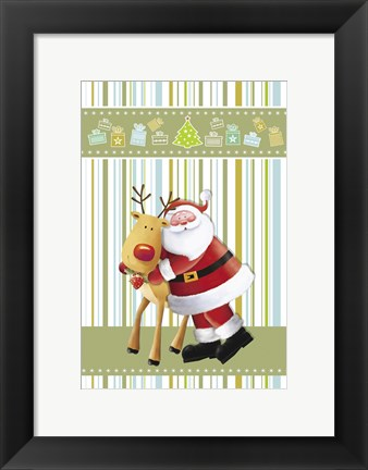 Framed Hug From Santa Print
