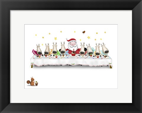 Framed Santa's Cupcake Supper Print