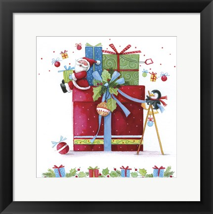 Framed Let The Penguin Wrap The Gifts Print