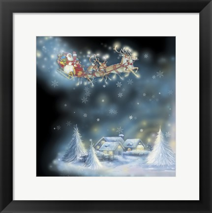 Framed Santa's Starry Snowflake Ride Print