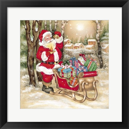 Framed Santa's Bells And Candle Print