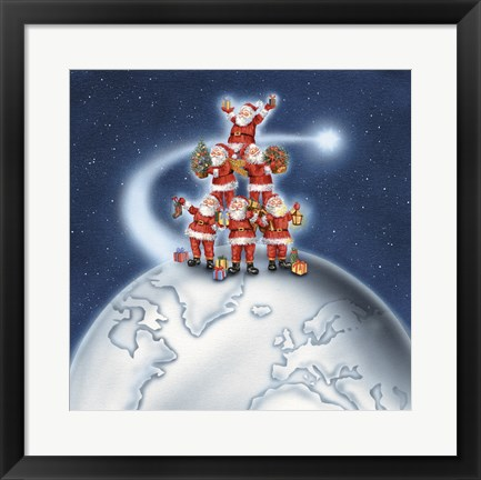 Framed Santas On Top Of The World Print