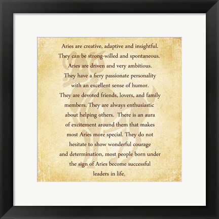 Framed Aries Character Traits Print