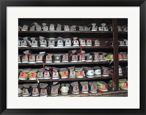 Framed Bowling Shoes on a Shelf Print