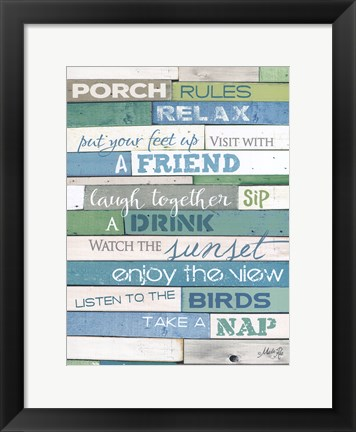 Framed Porch Rules Print