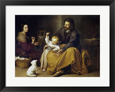 Framed Holy Family with a Small Bird Print